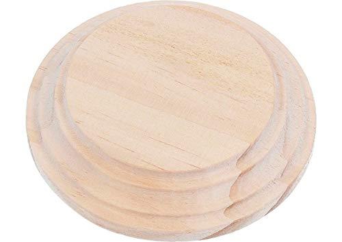 Base, peana Madera de Pino Macizo Redonda inf. 8cm. Sup. 6cm. alt. 1,5cm. Base de Madera para Pintar, Decorar y Hacer Manualidades.