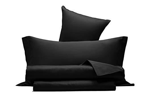 Completo letto lenzuola in raso di puro cotone Made in Italy MATRIMONIALE Nero