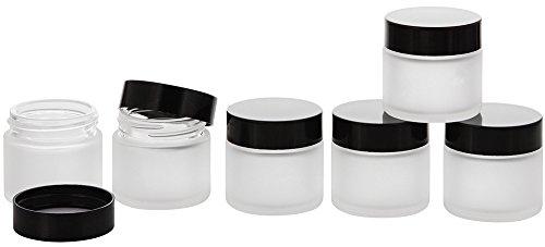 Matt Glas-Tiegel 30 ml m. Deckel, Leere Kosmetex Glas Creme-Dose, Kosmetik-Dose, 6× 30 ml Mattglas Schwarz Deckel