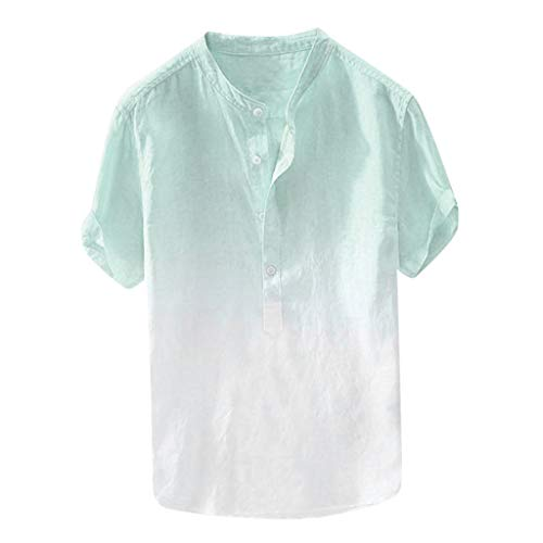 Men's Cotton Linen Shirt Breathable Collar Hanging Dyed Gradient Short Sleeve Button Tee Tops Blouse (XL, Blue)