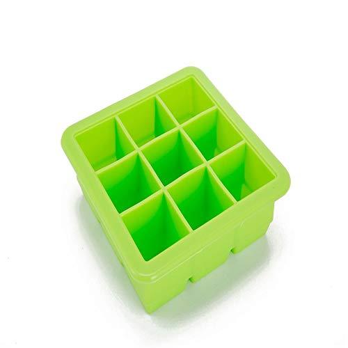 9-Hole siliconen ijsblokjes ijsblokjesvorm voor Whiskey, Cocktails, Chocolade, Drankjes, enz. (2 Pakketten) Groen