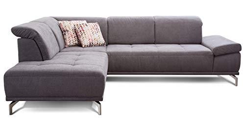 Cavadore Ecksofa Carly mit Federkern, Sitztiefe und Kopfstütze verstellbar im Design, 273 x 81 x 234, Webstoff grau