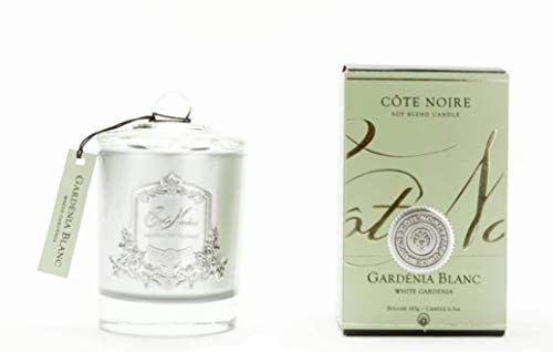 Cote Noire Zilver 185g Gardenia geurende kaars in een glazen pot