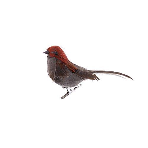 D DOLITY Oiseau Artificielle Mousse Statue Pie Plumes Paysagère Miniature Décoration Avec Clip