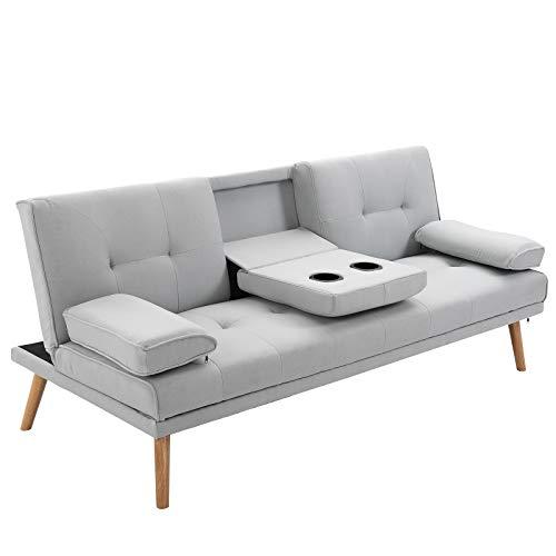 homcom Divano Letto 3 Posti Design Scandinavo Reclinabile con 2 Braccioli Staccabili Rivestito in Lino Gambe in Legno Massello Tavolino a Ribalta Grigio 181x77x72 cm