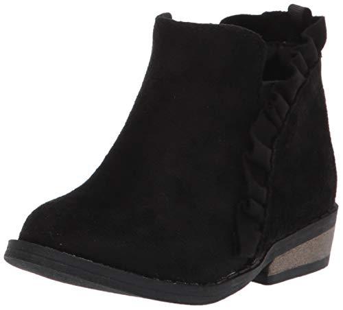 Baby Deer Girls Ruffle Ankle Boot, Black, 5 Toddler