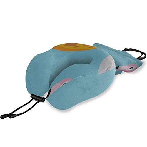 Liaosax Bus Travel Pillow Bright Unicorn Or Flamingo Floats in Pool Memory Foam Neck & Head Support Print Comfortable Travel Pillow for Flight Travel Office Best Gift