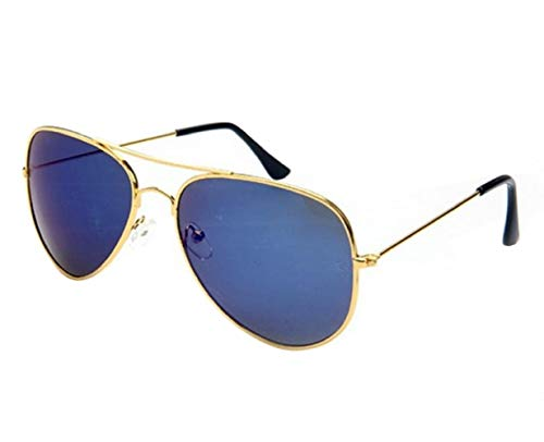 Gouden lijst - blauwe lens - zonnebril - man - vrouw - unisex - traan - spiegel - klassiek