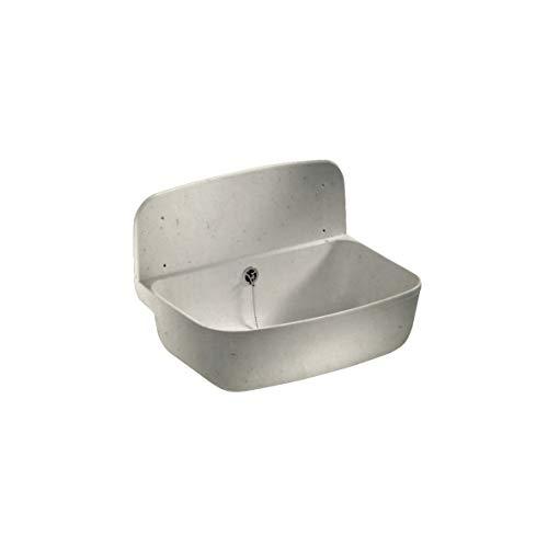 Sanit Wandausgussbecken (schlagfester Kunststoff, Granit, Fassungsvermögen 13,5 l, Überlauf, Zubehör) 60.001.B6.0099