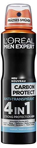 L'Oréal Men Expert Carbon Protect Deo Spray, 4in1 Schutz beim Sport, gegen Schweiß, Geruch, Bakterien und weiße Rückstände (6 x 150 ml)
