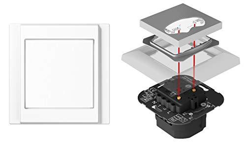 EBROM - Regulador de luz LED universal (interruptor de fase + fase de corte LED 3-140 W, halógeno regulable, 8-350 W/VA, con marco joven A500 A581WW, blanco alpino y balancín EroM), color blanco