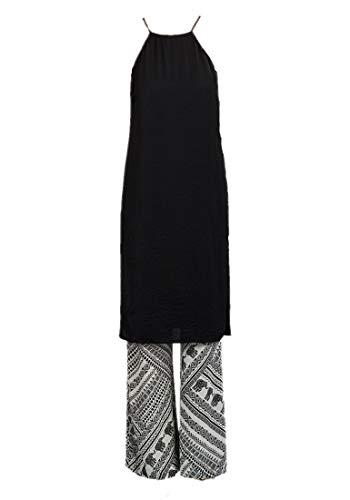Damen Tunika mit seitlichem Schlitz, Schwarz Gr. Large, Schwarz
