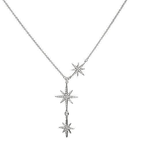 qianbanger Collar de plata925 Collar de Tres Estrellas Fugaces de Plata Cadena de clavícula de Estrella de Seis Puntas Accesorios de Estrella Pozi