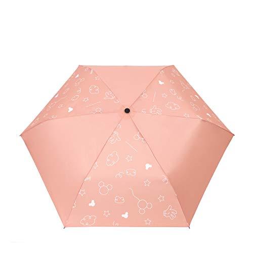 Cartoon Mickey pliega Paraguas para Estudiantes Masculinos y Femeninos con Paraguas de Dos usos para la Lluvia