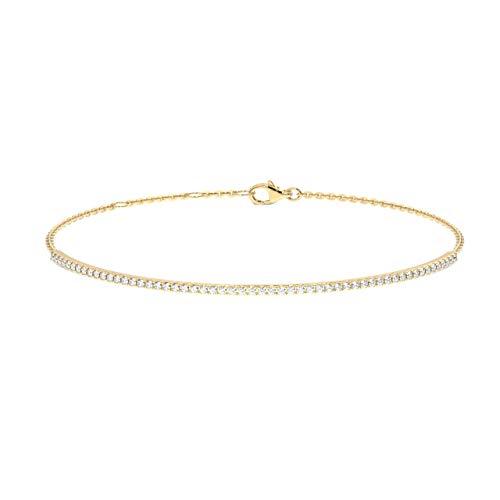 Pulsera de diamantes redondos de corte brillante de 0,50 quilates en oro amarillo de 18 quilates.