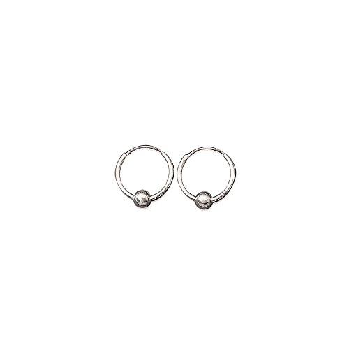 Ohrringe, Creolen mit Kugeln, aus Sterling-Silber 925/000, Durchmesser 14mm