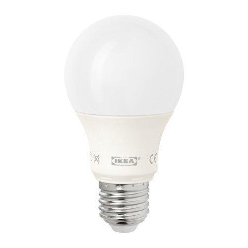 IKEA LEDARE - Bombilla LED E27, regulable, color blanco ópalo globo, 600 lm