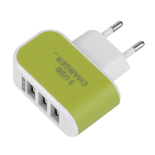Adaptador de Cargador de alimentación de CA de Viaje en casa de Pared con Puerto USB Triple 3.1A Enchufe de la UE Verde