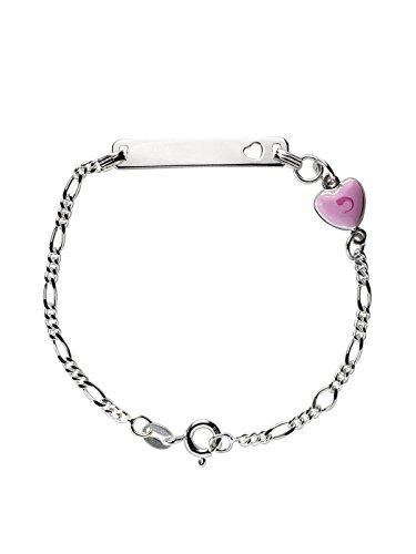 AKA Joyas - Pulsera Identificativa Plata de Ley 925 con Colgante Corazón Rosa, Regalo para niñas