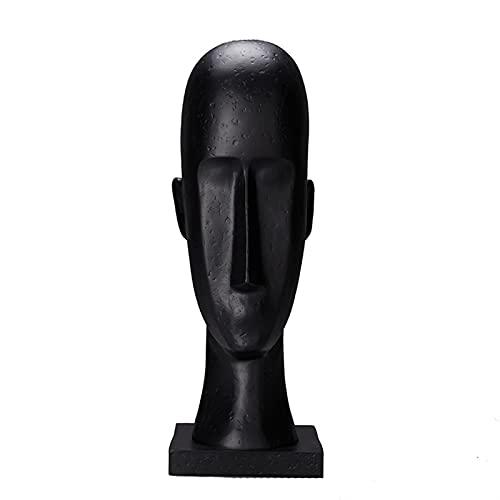 PXDTTSZ - Scultura con testa umana da 40,6 cm, decorazione astratta per la casa e il desktop, decorazione morbida in bianco e nero, due colori (colore: nero)