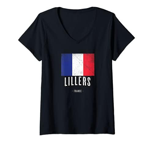 Femme Ville de LILLERS - France   FR - Drapeau Français - T-Shirt avec Col en V