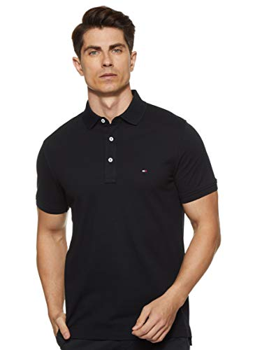 Tommy Hilfiger Herren CORE Tommy Slim Polo Poloshirt, Schwarz (Flag Black 032), Medium