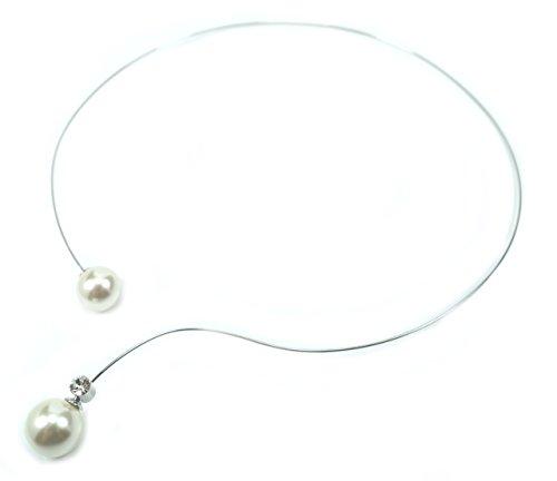 Priodo-Fashion Rhodinierter Halsreif mit Einer 14 mm und Einer 12 mm Perle (in Mallorcaqualität) mit einem Effektlayer in Creme-Weiß und einem eingefassten Kristall