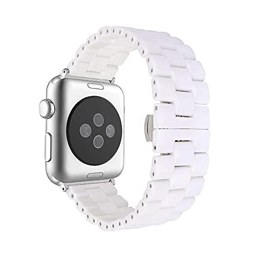 AISPORTS Compatible con Apple Watch Correa de Cerámica de 40mm 38mm, Pulsera con Hebilla de Mariposa de Acero Inoxidable, Correa Deportiva de Repuesto para Apple Watch SE/iWatch Series 6/5/4/3/2/1