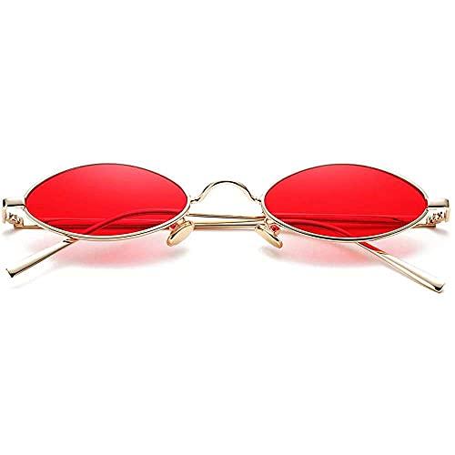 zhaita Vintage kleine ovale Sonnenbrille für Damen Herren Hippie Cool Metallrahmen Sonnenbrillen, A2 Gold Frame/Red Lens, Bronze,