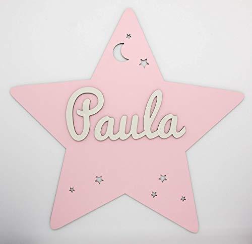 Placa estrella de madera personalizada con nombre. Varios colores disponibles