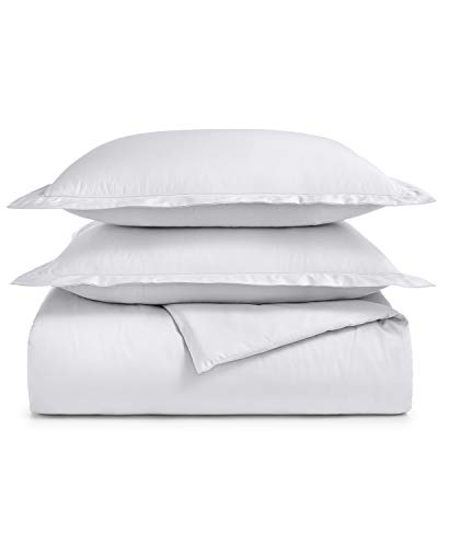 Charter Club Damask Solid 550 Thread Count Supima Cotton 3 Piece Full / Queen Duvet Cover Set White