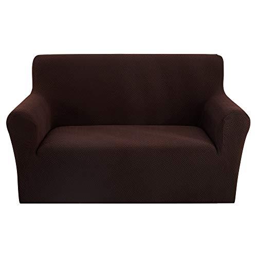 papasgix Sofaüberwurf Stretch Sofahusse Sofa Abdeckung Couchbezug Sofahusse Jacquard Sofaüberzug Elastische Sofabezug für Sofa Couch Sessel(Kaffee,Doppelsitz)