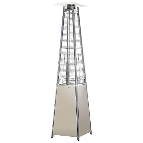 Outsunny 10.5KW Stainless Steel Outdoor Garden Patio Pyramid Heating Propane Gas Real Flame Heater Warmer Glass Tube with Wheels and Rain Cover - Silver