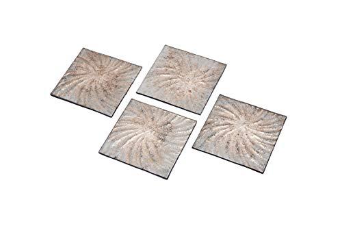 CGB Giftware's Silver Set mit 4 Glasuntersetzern aus der Metallic-Wellen-Reihe | Homeware | Geschirr | GB04459