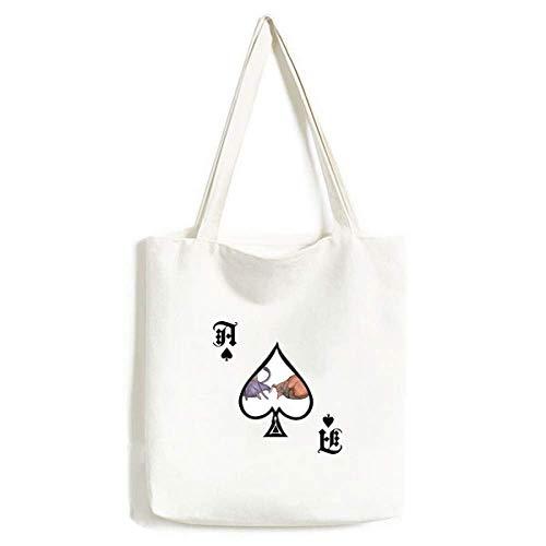 Miaoji Schilderij Aquarel Blauw Kat Handtas Craft Poker Spade Wasbare Tas