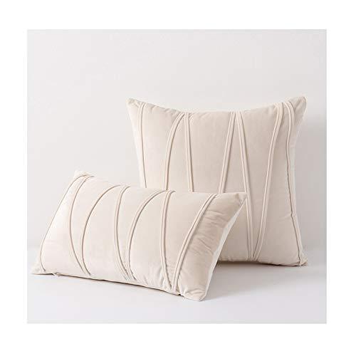 WPHH Throw Pillow Case De Terciopelo Suave A Rayas, Juego De 2 Funda De Cojín Nórdicas, Fundas De Almohada Decorativas para El Asiento del Sofá del Hogar, 30X50cm / 45X45cm,Beige