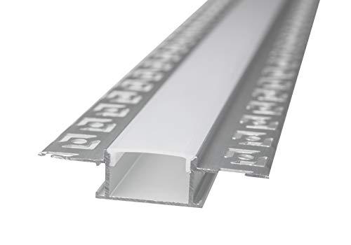 LineteckLED -LP3050- Barra in alluminio, Profilo LED Alluminio LP3050 da 2mt Incasso a Scomparsa in Cartongesso per Doppia Striscia a Led Cover Opaca, binario canalina per striscia led