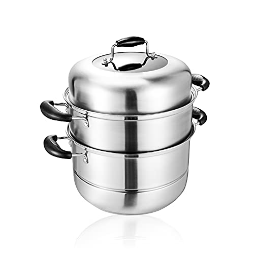MANO 2-Tier Stainless Steel Steamer Pot 11 Inch Steam Pot Set Cooking Pot with Lid Multipurpose Cookware Pots Stock Pot Sauce Pot with Handle