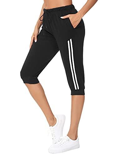 Doaraha Jogginghose Damen 3/4 Sweathose mit Bündchen Caprihose Kontraststreifen Trainingshose 3/4 Seitenstreifen (Schwarz, S)