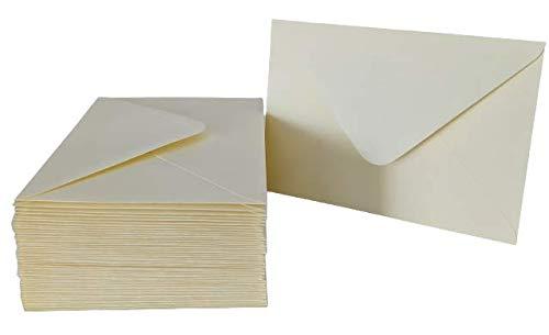 Umschläge, Elfenbein, DIN-C6, 50 Stück, Hohe Qualität: 100 g/m², 11,4x16,2 cm., Briefumschläge