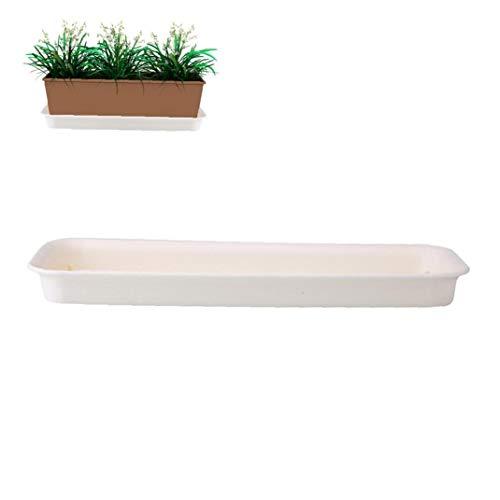 Hotaden Flor de la Planta de contenedores Pot platillo Tiesto bandejas de plástico rectángulo Tiesto paletas (12 Pulgadas de Color Blanco cremoso)