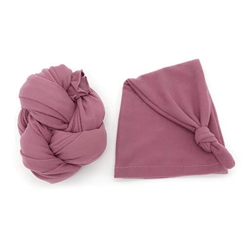 PHILSP Stretch Baby Wrap + Hat Accesorios de fotografía para recién Nacidos Suave Color sólido Photo Wraps Taro