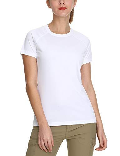 BALEAF Damen UV Shirt UPF Sonnenschutz Kleidung Kurzarm Weiß L