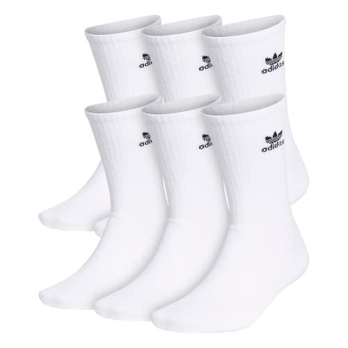 adidas Originals Calcetines de tripulación para hombre (6 pares), blanco/negro, grande, (talla de zapato 6-12)