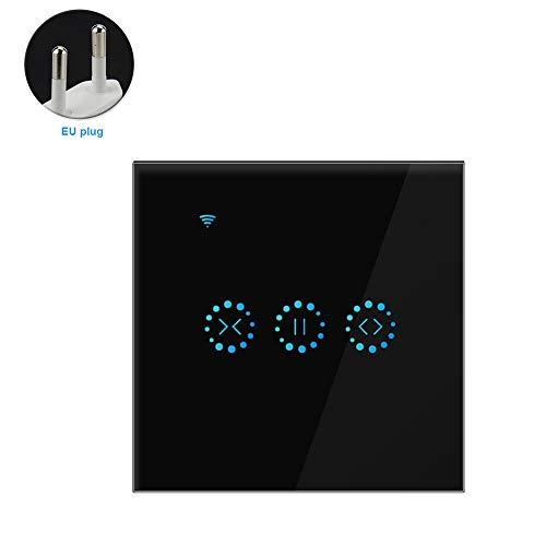 Interruptor de cortina inteligente WiFi Interruptor del obturador de persianas enrollables motorizadas, control de voz remoto inteligente, Balck