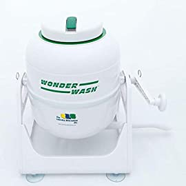 The Laundry Alternative Wonderwash Non-electric Portable Compact Mini Washing Machine 1 PORTABLE: Wire-free mini washer is perfect for an apartment, studio, RV or to take with you camping. ECO-FRIENDLY: Manual crank operation uses no electricity and 90% less water that standard machines. GENTLER ON CLOTHES: Best washer for woolens, silks, knits, cashmere and other delicate garments.