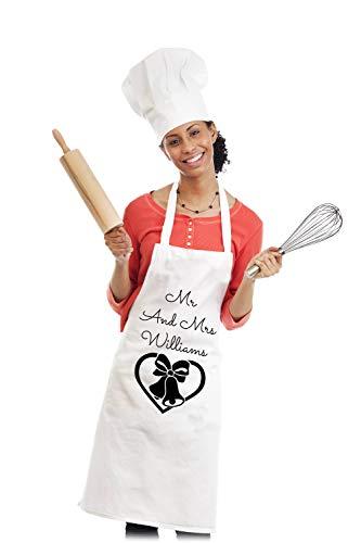Ad4ssdu4 Schort Mr Mrs Wedding Bells Getrouwd met uw naam Gepersonaliseerde schort Chefs Schort nieuwigheid geschenk BBQ apron161