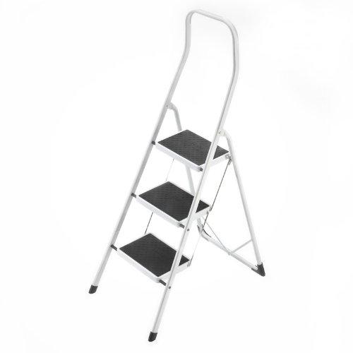 Hailo Safety, Stahl-Klapptritt, 3 Stufen, hoher Sicherheitshaltebügel, Klappsicherung, belastbar bis 150 kg, 4313-001
