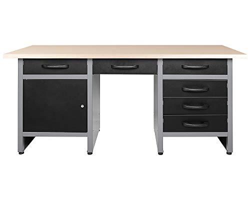 Ondis24 Werkbank 160 cm mit 6 Schiebern und Tür abschließbar Werktisch für Werkstatt Holz Arbeitsplatte (85 cm Arbeitshöhe)