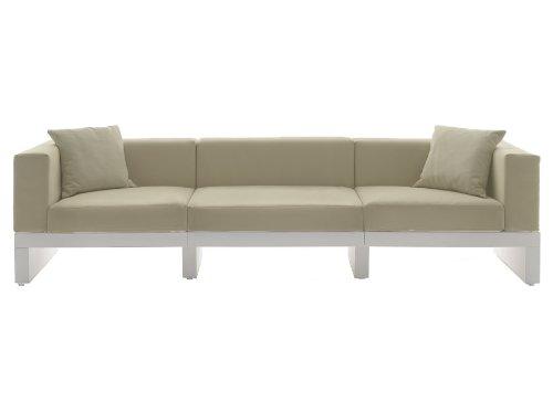 Cerradura para sofá Hour de 3 plazas con 3 respaldos y 2 reposabrazos, color blanco